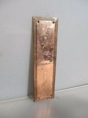 Antique Finger Plate Push Door Handle Copper Plated Brass Reeded Old Vintage