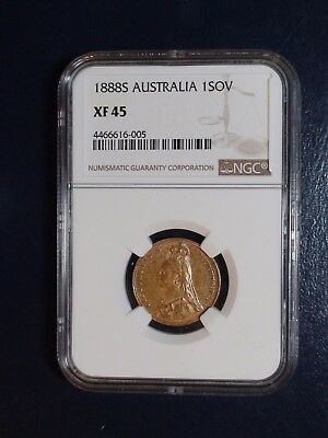 1888 S AUSTRALIA NGC XF45 ONE SOVEREIGN GOLD 1S Coin PRICED TO SELL NOW!