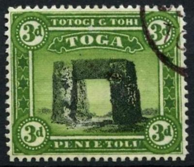Tonga 1897 SG#44a 3d Black & Yellow-Green Wmk Sideways Used #D57798