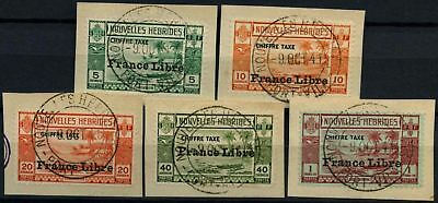 New Hebrides French 1941 SG#FD77-81 Postage Dues Optd France Libre  Set #D57821