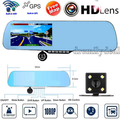 32GB Full HD1080P WIFI GPS Sat Nav Car DVR Rear View Mirror Monitor Camera W840