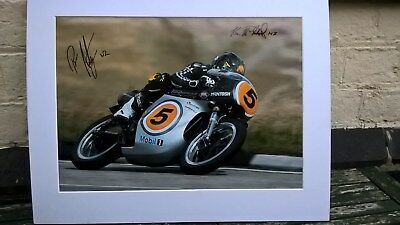 Isle of Man TT, autographed mounted photograph of Bruce Anstey on a Manx Norton