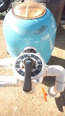"""Lacron 16"""" Blue Swimming Pool Sand Filter Complete With 1.5"""" Multi Port Valve"""