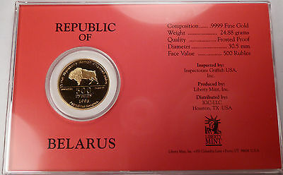 1995 Belarus Bison 50th Anniv. Victory WW2 PROOF 24.88g Gold 500 roubles Box