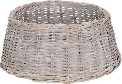 Natural Rustic White WashWicker Willow Christmas Xmas Tree Skirt Stand CoverTidy