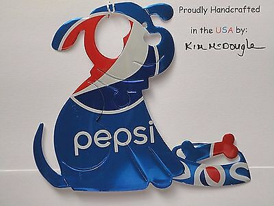 Dog Handmade Christmas Ornament Recycled Aluminum Metal P Cola Soda Pop Can Art