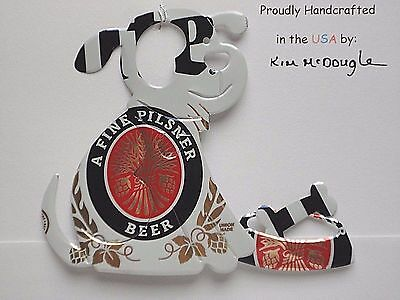 Dog Handmade Christmas Ornament Recycled Aluminum Metal M Lite Beer Can Art