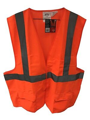 Orange Safety Vest 3 Pockets Reflective Stripe Polyester Washable