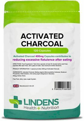 Activated Charcoal 400mg x 120 Capsules Reduce Excessive Flatulence  LINDENS