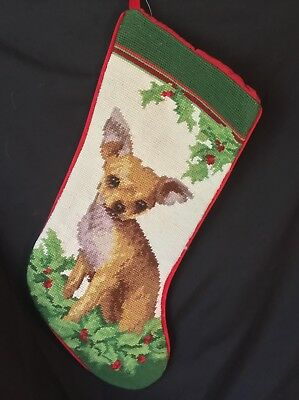 needlepoint Christmas stocking Fawn chihuahua  full size*NOT a kit