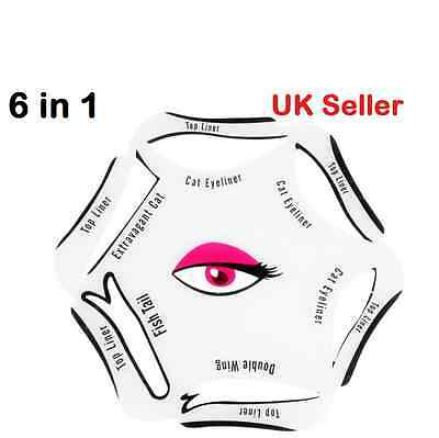 NEW 6 in 1 Stencil Template Cat Eyeliner+Eyeshadow Smoky Quick Makeup Guide Tool