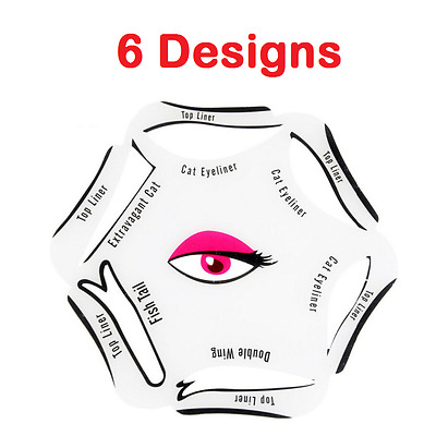 6 in 1 EYELINER Stencil Set Makeup Guide Quick Cat Eye Liner Tool Liquid UK NEW