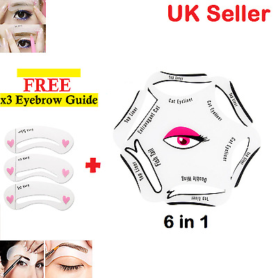 Perfect 6 in 1 Eyeliner Stencil Set Makeup Guide Quick Smoky Cat Eye Liner Tools