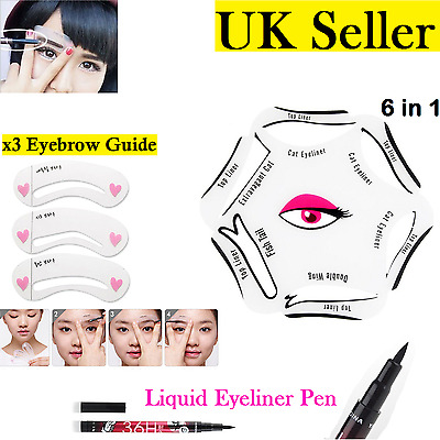 NEW 6 in 1 EYELINER Stencil Guide Set Makeup Quick Cat Eye Liner Tool Liquid UK
