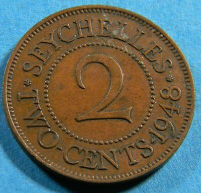 Seychelles 1948 2 cents  coin (0672)  KM# 6  Mintage 350,000 1 year type