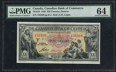 #75-18-10 $20 Canadian Bank Of Commerce Toronto, On Pmg 64 Choice Unc Wlm4448