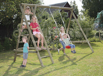 Single wooden garden swing and climbing frame