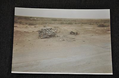 Iraqi Freedom OIF 1st Armored Photograph 3 x 5 remnants of a blown up car