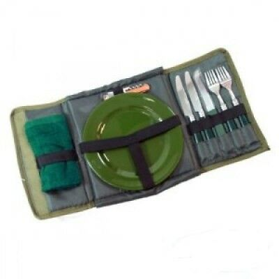Q-Dos Deluxe Cutlery Set Carp Fishing Camping Dining Set in Case