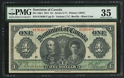 #DC-18d-i $1 1911 DOMINION OF CANADA SERIES U-Y PMG 35 CHOICE VF WHW3281