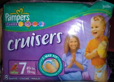 3 non vintage Size 7 Pampers diapers. 1 Cruisers, 1 Swaddlers and 1 Baby Dry.