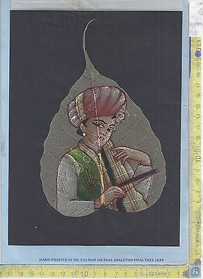 Real Skeleton Pipal Tree Leaf - Hand painted on oil colour