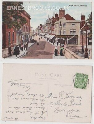 Early Postcard, Bedfordshire, Bedford, High Street,Old Shops,People Outside,1914