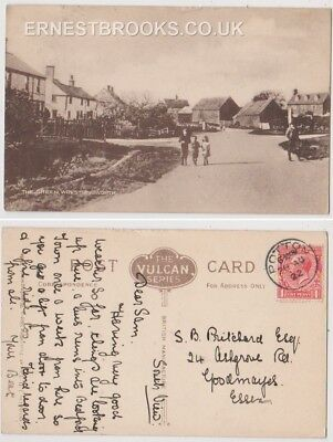 Early Postcard, Bedfordshire, Wrestlingworth, The Green, Children, Outside,1922