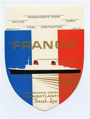 French Line S S France Unused Luggage Label Compagnie Generale Transatlantic