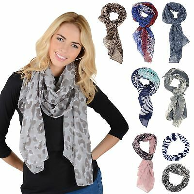 New Womens Lightweight Sheer Printed Scarf Snood Ladies Fashion Stole Shawl Gift