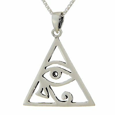 Eye of Ra Triangle Necklace ~ 925 Sterling Silver ~ Pyramid Pendant Box Chain
