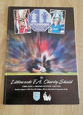 1997 Charity Shield Chelsea v Manchester United Wembley Stadium Programme