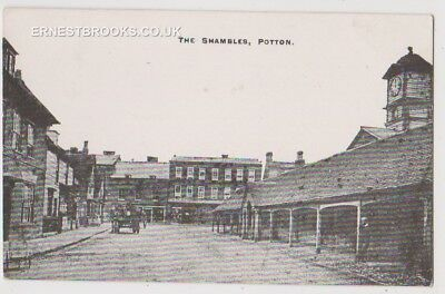 Early Postcard,Bedfordshire, Potton, The Shambles, Old Buildings, Horse @ Cart