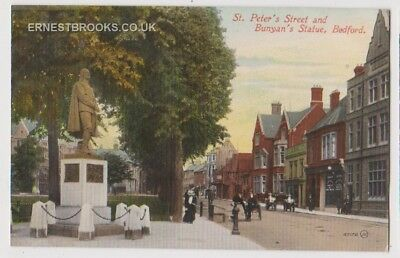 Early Postcard,Bedfordshire, Bedford St Peter`s St @ Bunyan`s Statue