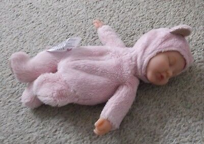 "Gorgeous Pink  Anne Geddes Rare Baby  Doll! Teddy Bear Doll 9.5"" C2010"