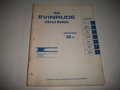 1964 Evinrude Speeditwin 28 Hp Shop Service Repair Manual   Cmystor4More