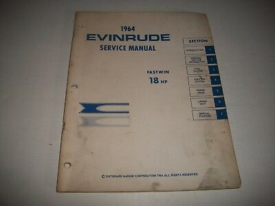 1964 Evinrude  Fastwin 18 Hp Outboard Shop Service Repair Manual   Cmystor4More