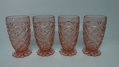 4 Hocking Depression Glass WATERFORD Waffle Footed Water Tumblers Glasses 10 oz