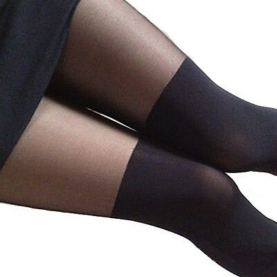 Collant Noir 2 Tons Imitation Bas T36 - 40  Black sexy Pantyhose Stockings S - L