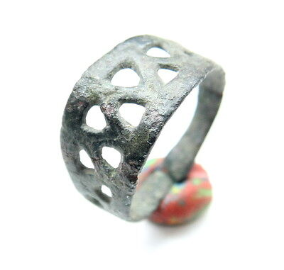 Ancient Medieval Ornament Bronze Finger Ring (MAY77)