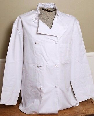 NWOT Chef White Coat Team World Brand Double Breasted Long Sleeve Size Large