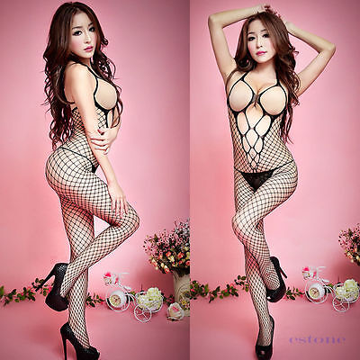 Sexy Collant Bodystocking Catsuit Résille T 36 - 44 Crotchless Pantyhose S - 2XL