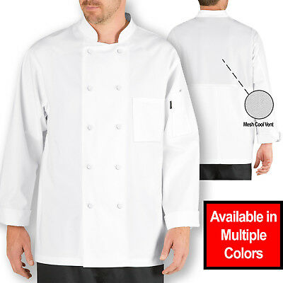 CHEF CODE Lightweight Cool Breeze Chef Coat, Long-Sleeve & Mesh Vent Inlay CC104