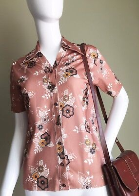 VINTAGE 70's Mink Flower BROWN Mustard DAGGER Collar Ladies Shirt - Mod Vtg - 10