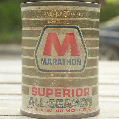Vintage Marathon Motor Oil Can Bank Coin Piggy Advertising Collectible V.E.P.
