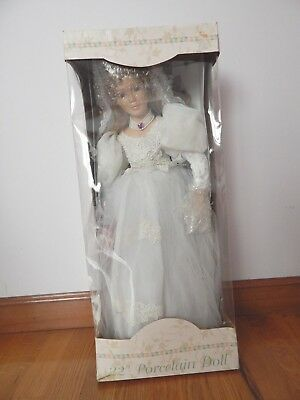 22 Inch Porcelain Wedding Bride Doll New in Box Blonde Hair Blue Eyes