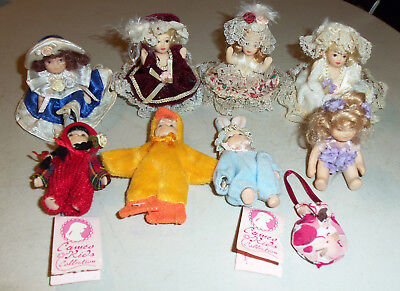 Cameo Kids Collection Miniature Porcelain Dolls, AM Creations Dolls, Bunny, Duck
