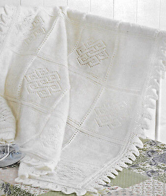 Heirloom Panelled Baby Shawl Knitting Pattern 4 Ply 147 2 95