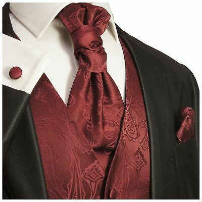 Burgundy Paisley Tuxedo Vest, Tie and Accessories Set by Paul Malone