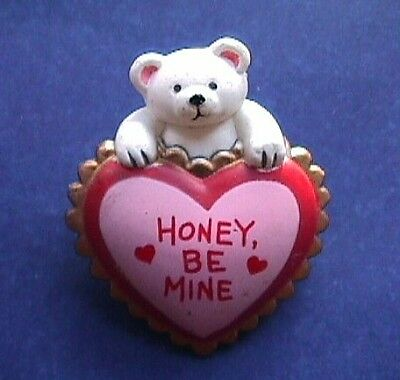 BUY1&GET1@50%~PIN Valentines POLAR Teddy BEAR w HONEY Be MINE HEART Vtg Brooch